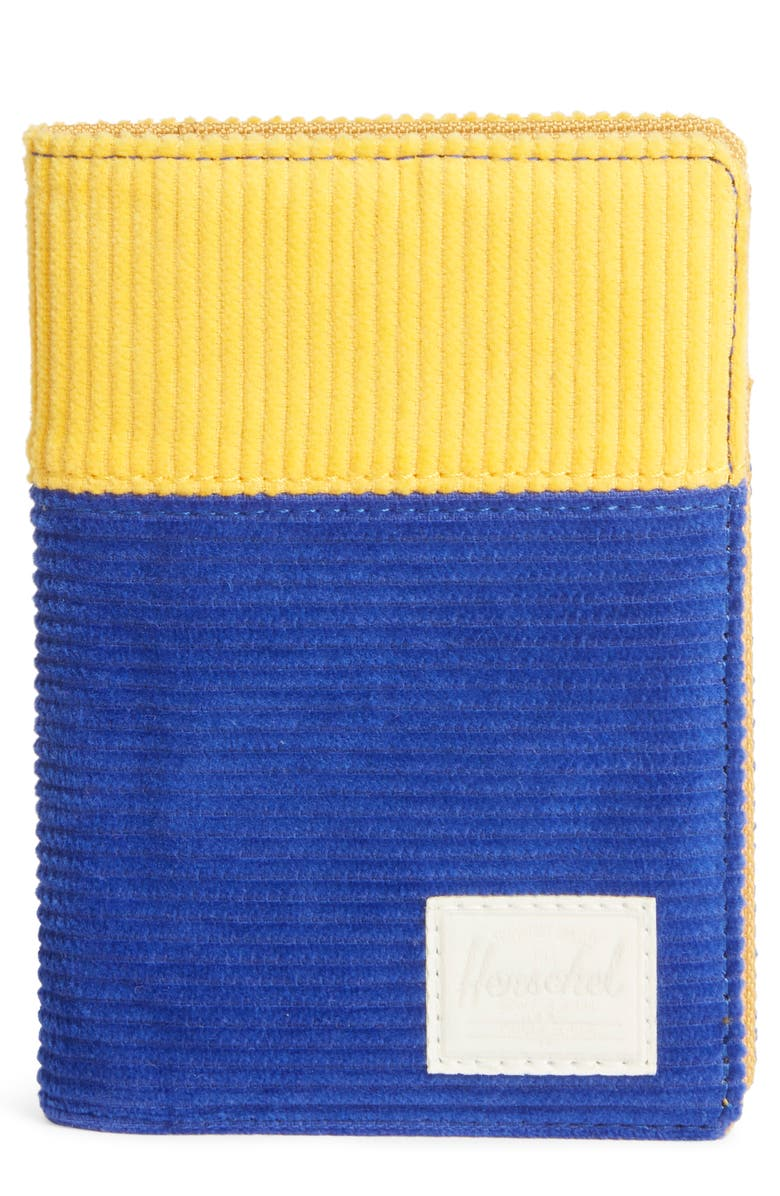HERSCHEL SUPPLY CO. Raynor Passport Holder, Main, color, BLUE/ YELLOW