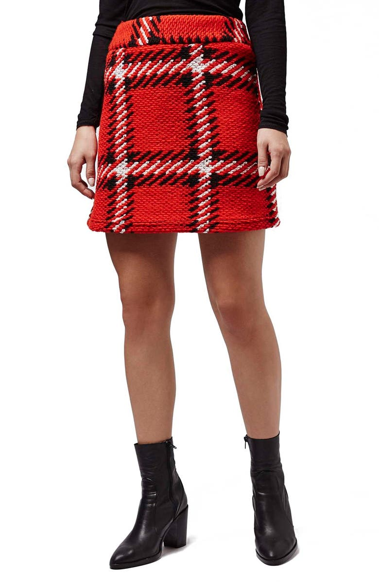 TOPSHOP Check High Rise Skirt, Main, color, 600