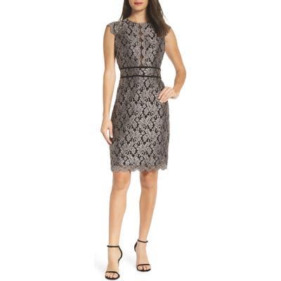 Morgan & Co. Scallop Detail Lace Dress, Black