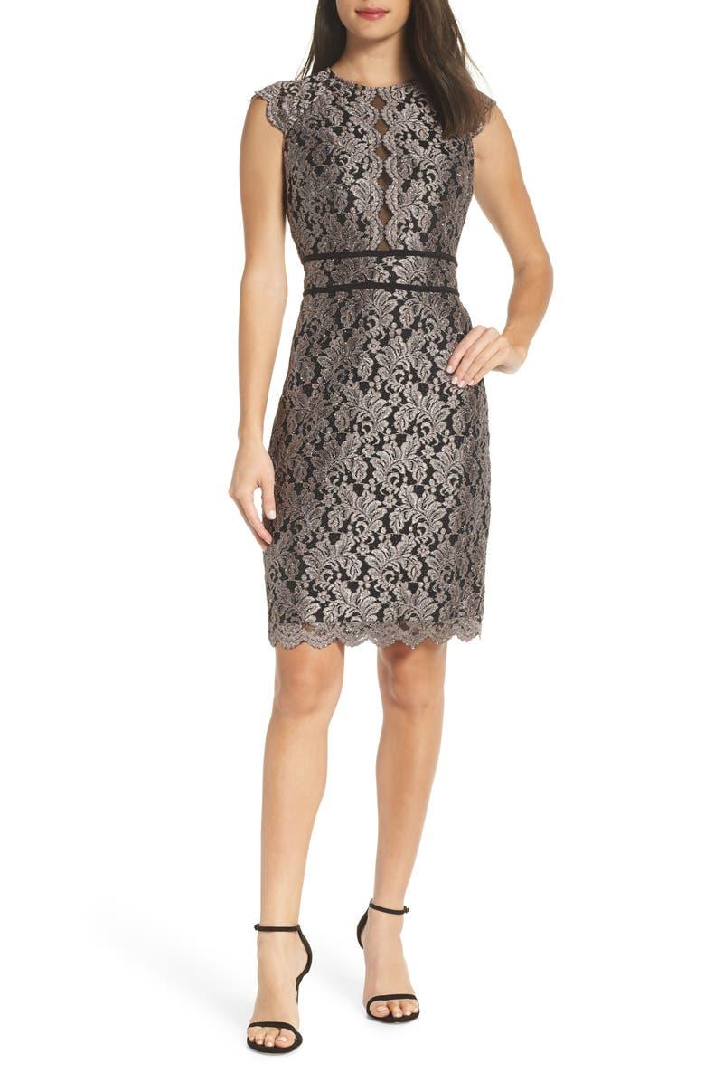 MORGAN & CO. Scallop Detail Lace Dress, Main, color, 013