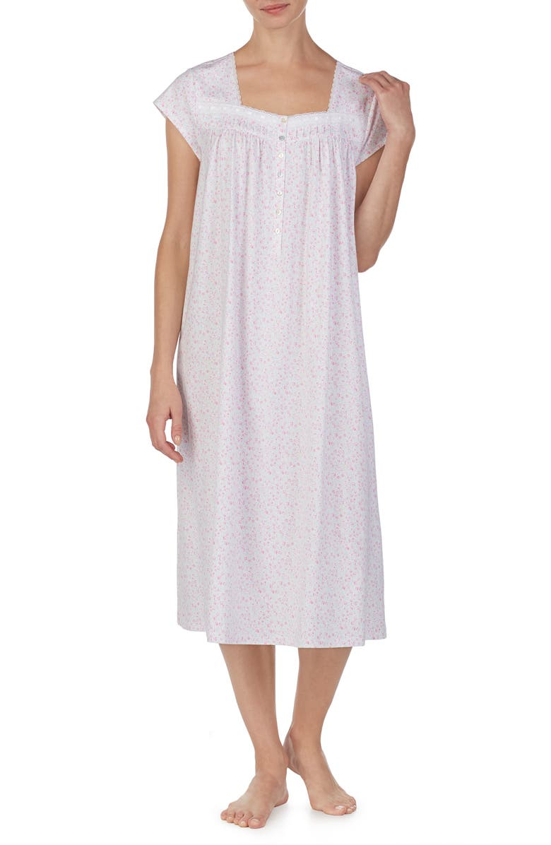 EILEEN WEST Ballet Nightgown, Main, color, WHITE GROUND MULTI DITSY