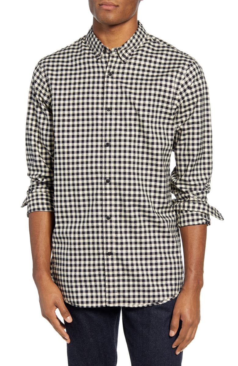 SCOTCH & SODA Regular Fit Dobby Check Button-Down Shirt, Main, color, OFF WHITE