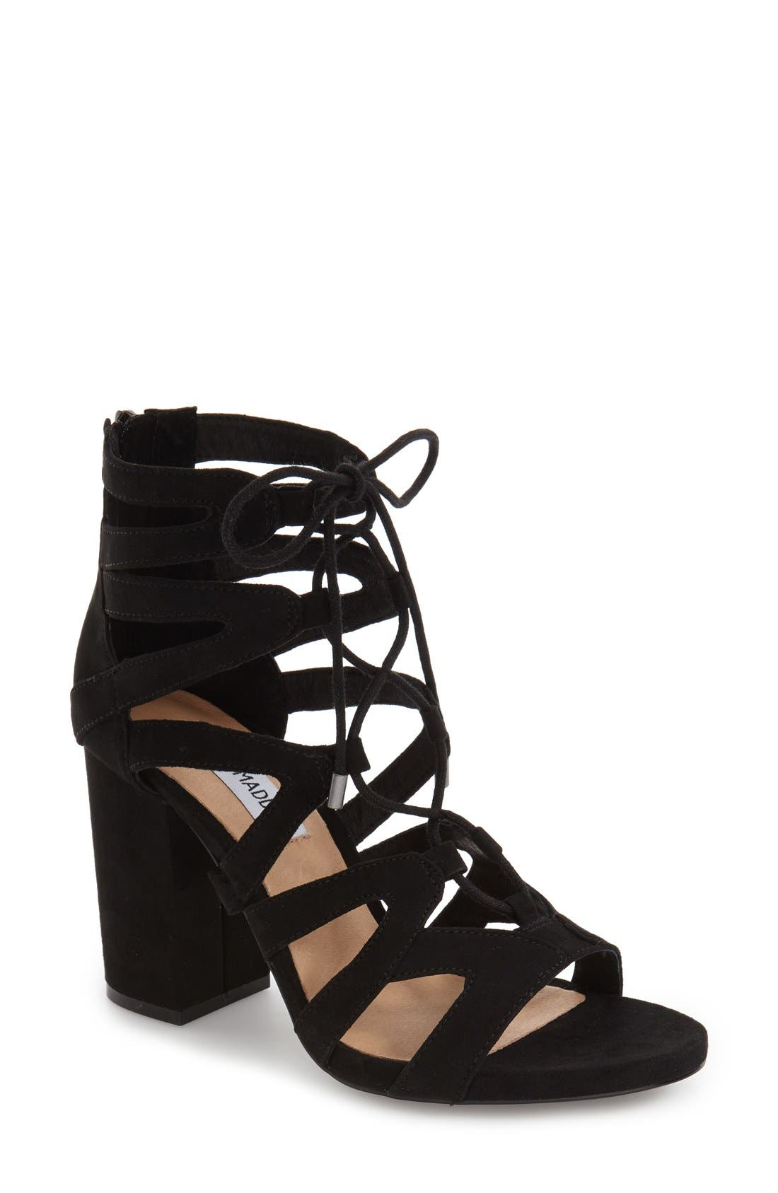 'Gal' Strappy Lace-Up Sandal, Main, color, 019