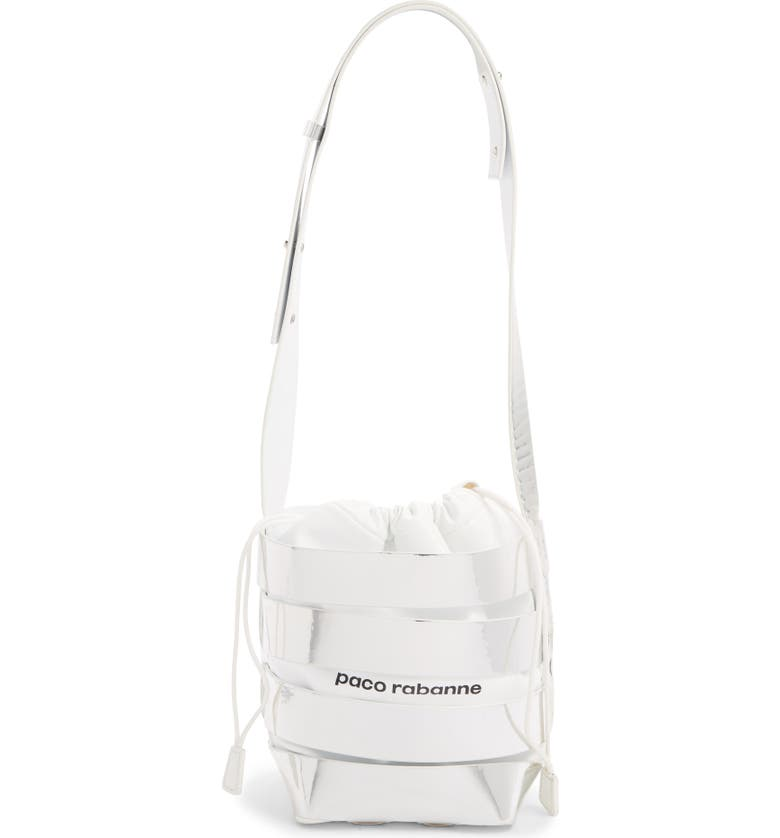 PACO RABANNE Metallic Mirror Cage Faux Leather Hobo Bag, Main, color, SILVER