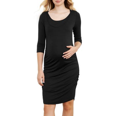 Maternal America Ruched Maternity Dress, Black