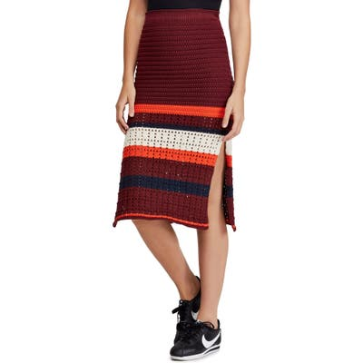 Free People Far From Here Crochet Midi Skirt, Red