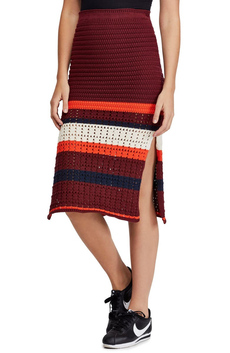 FREE PEOPLE Far from Here Crochet Midi Skirt, Main, color, 641