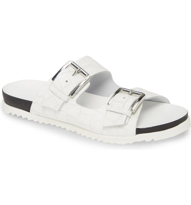 CHARLES DAVID Lonnie Croc Embossed Sandal, Main, color, WHITE