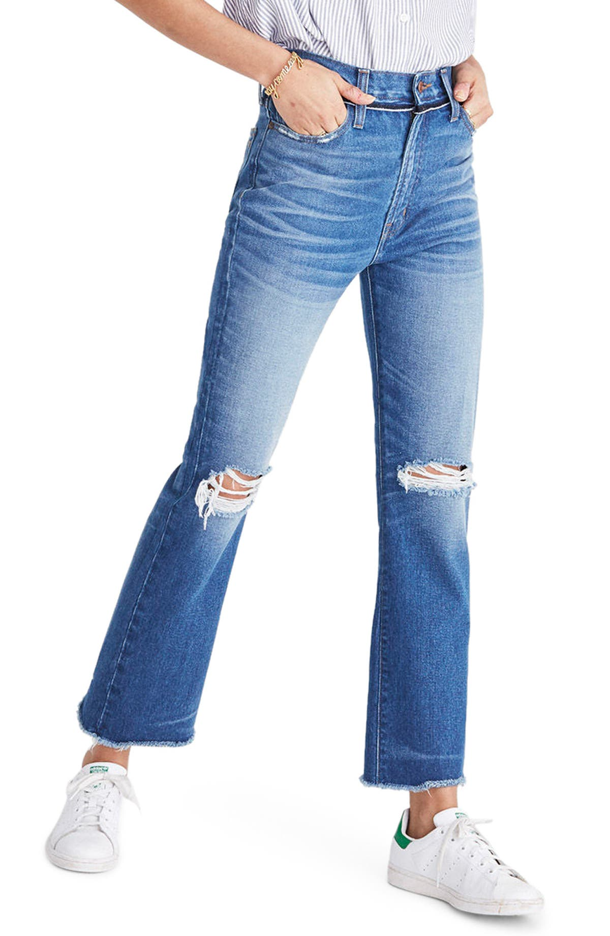 717eff42bfd Madewell Retro Ripped Knee Crop Bootcut Jeans (Cornwall Wash)   Nordstrom