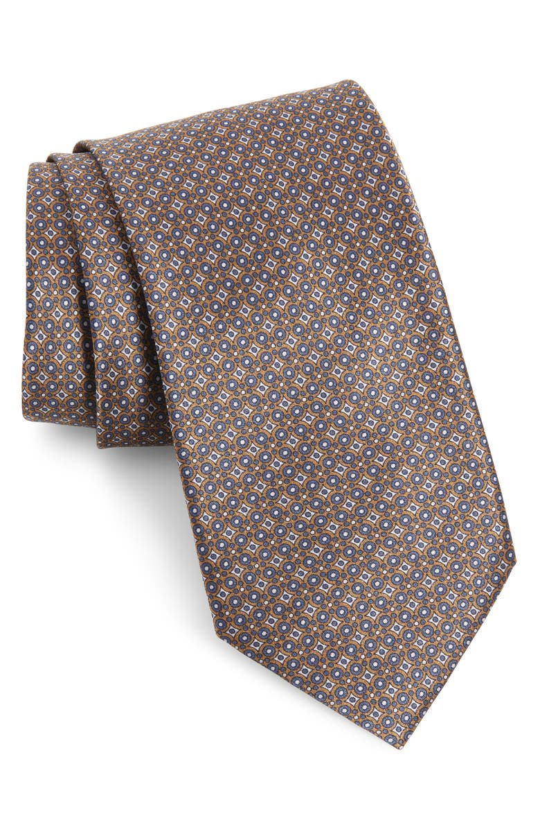 BRIONI Geometric Silk Tie, Main, color, BROWN