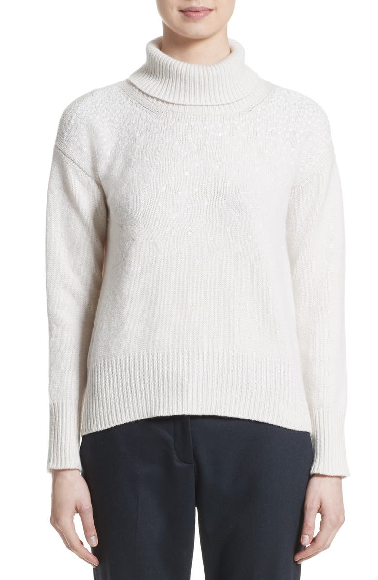 FABIANA FILIPPI Sequin Embellished Wool Turtleneck Sweater, Main, color, 900