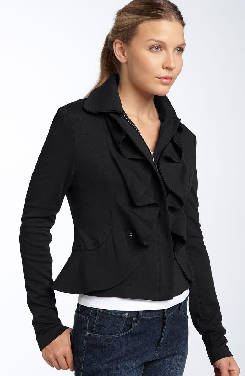 FILTRE Ruffled Knit Jacket, Main, color, 001