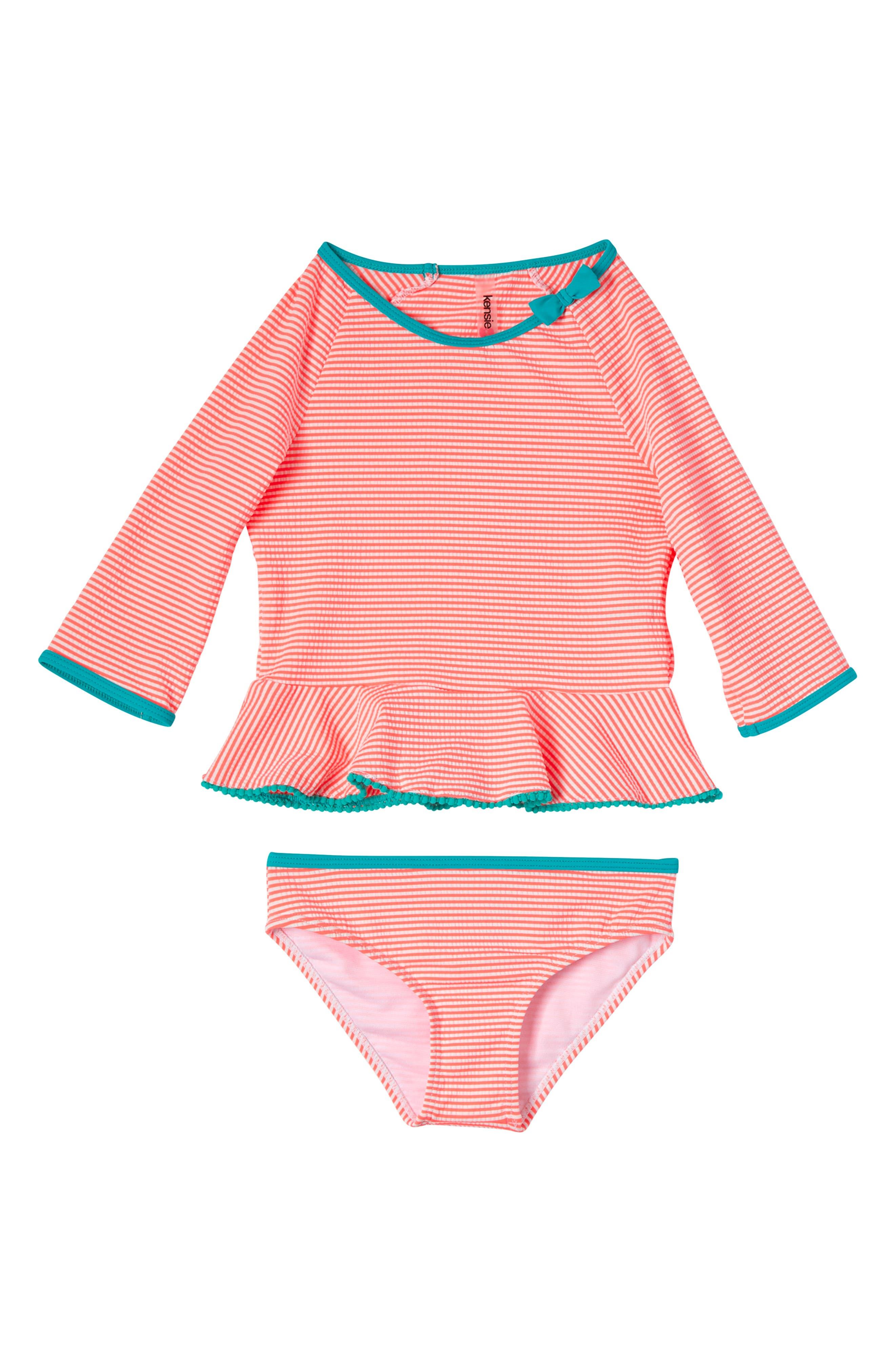 Image of Kensie Girl Long Sleeve Seersucker Stripe 2-Piece Swimsuit