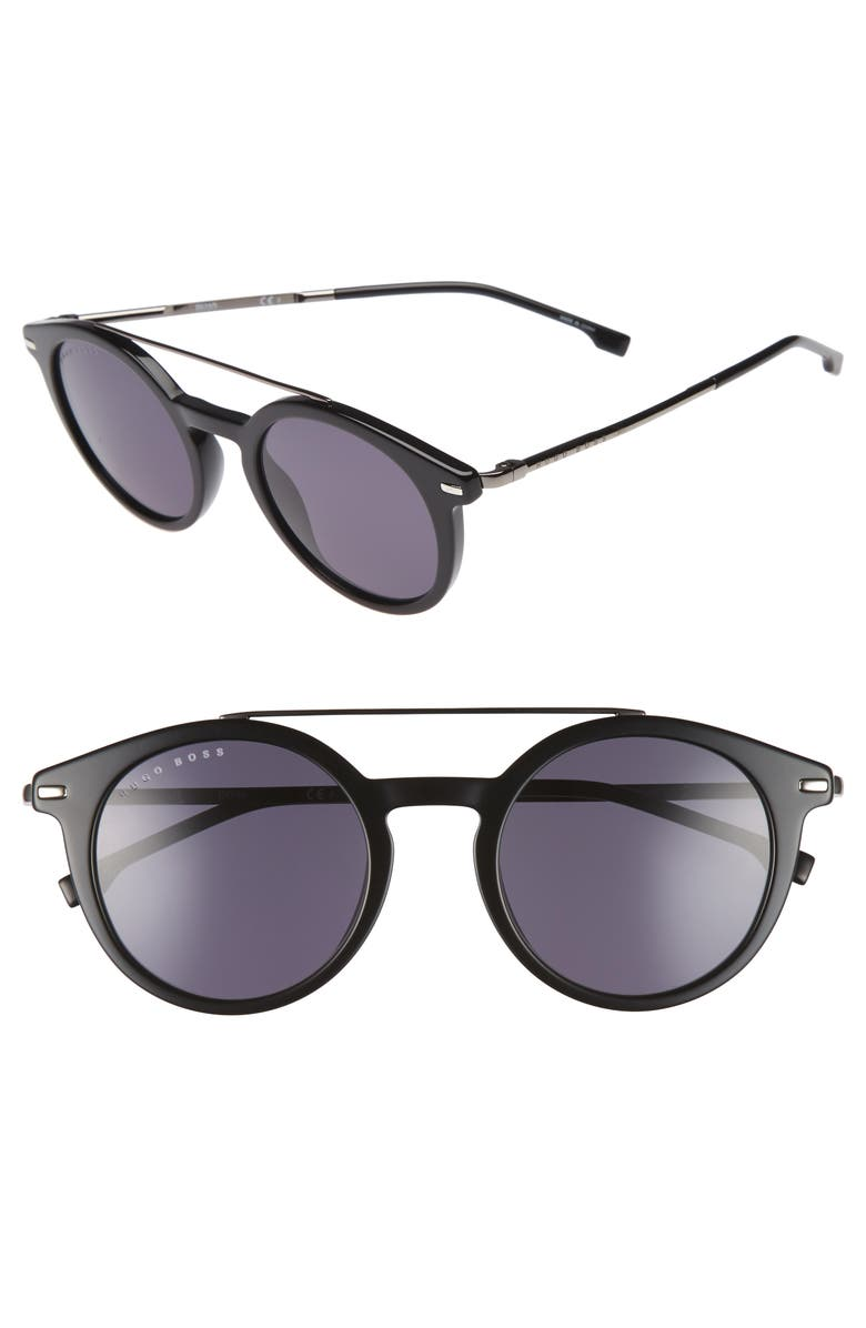 BOSS B0926S 49mm Polarized Sunglasses, Main, color, BLACK