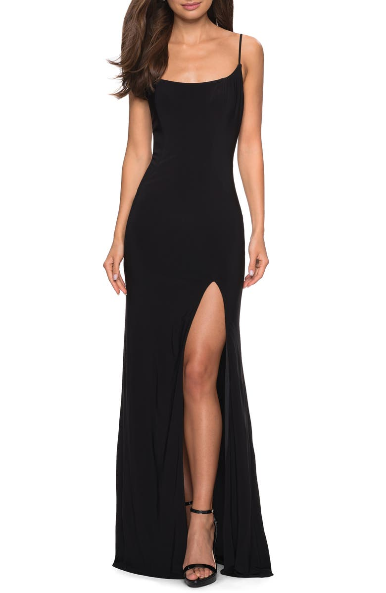 LA FEMME Strappy Back Jersey Evening Dress, Main, color, 001