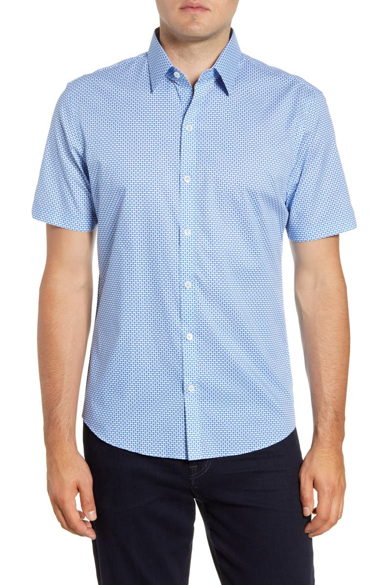 ZACHARY PRELL Mathews Regular Fit Geo Short Sleeve Button-Up Sport Shirt, Main, color, LIGHT BLUE
