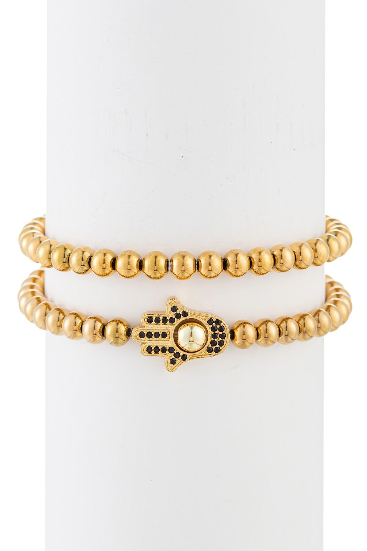 Image of Eye Candy Los Angeles Jacob Hamsa CZ Titanium Beaded Bracelet - Set of 2