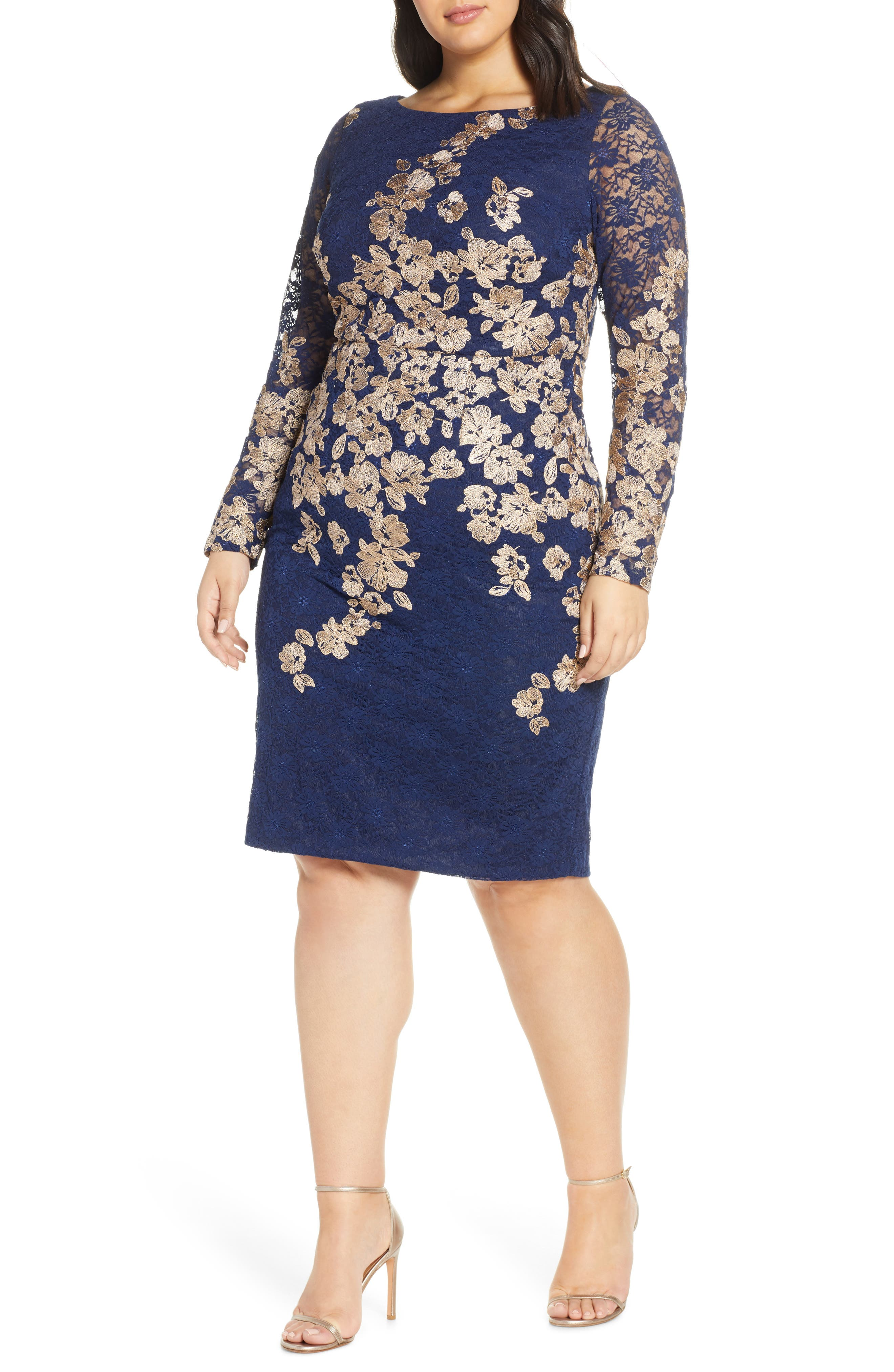 Plus Size Xscape Embroidered Lace Long Sleeve Sheath Dress, Blue