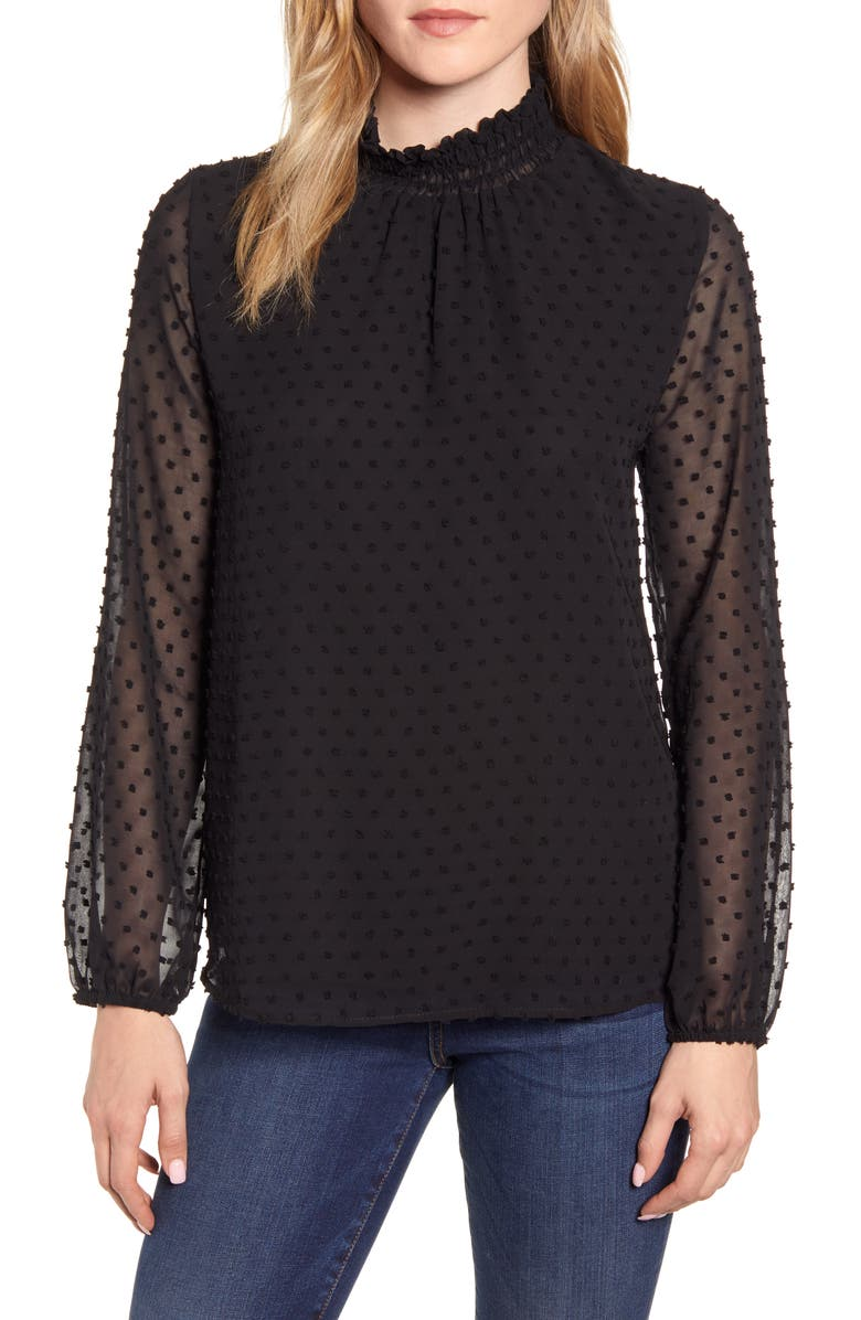 GIBSON Victorian Long Sleeve Swiss Dot Blouse, Main, color, 001