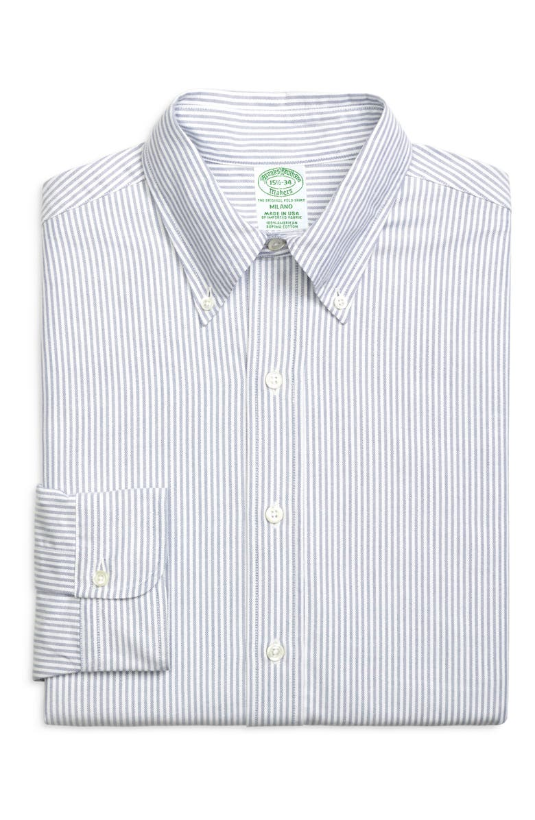 BROOKS BROTHERS Milano Slim Fit Stripe Dress Shirt, Main, color, BNGLSTRP BL