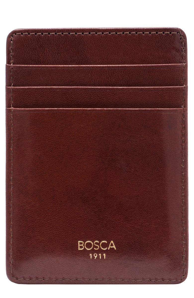 BOSCA 'Old Leather' Front Pocket Wallet, Main, color, DARK BROWN