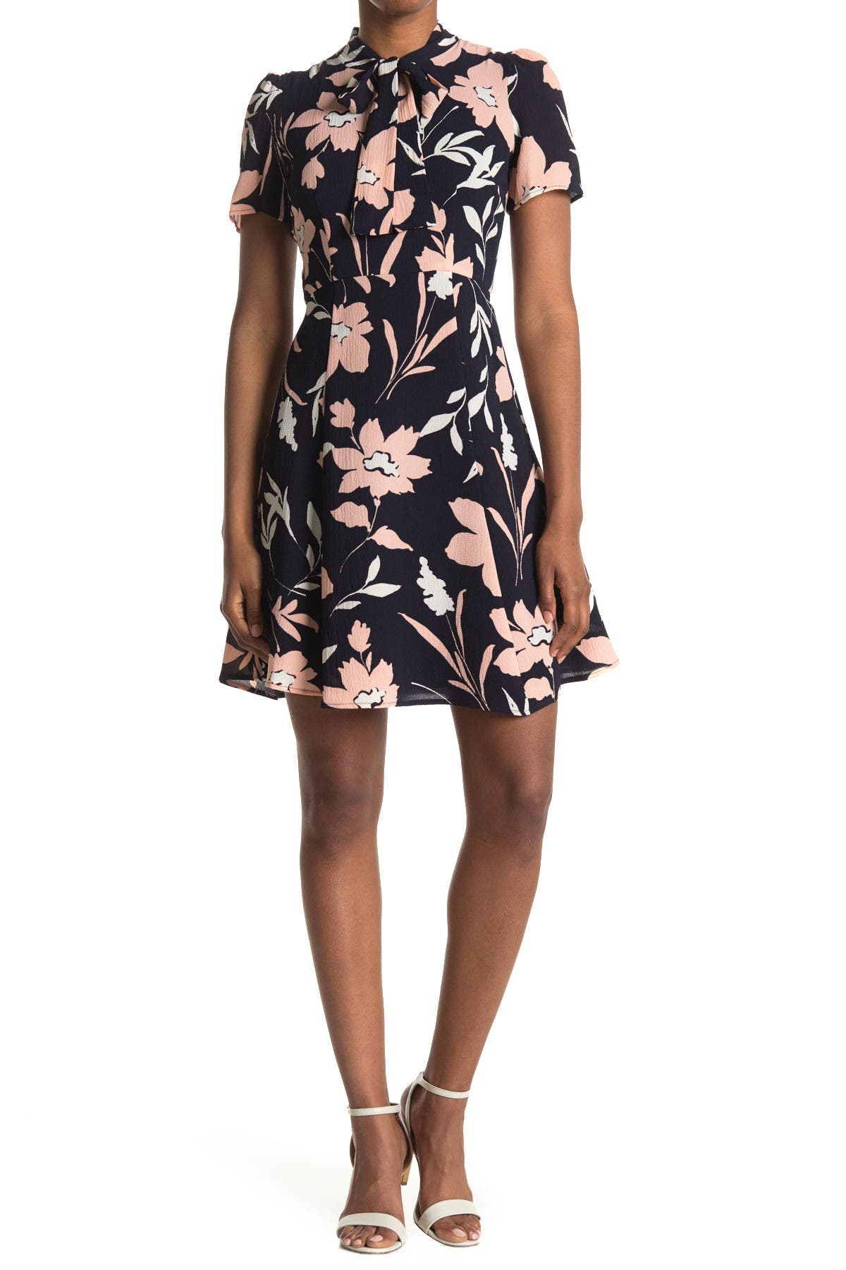 Image of Maggy London Floral Tie Neck Fit & Flare Dress
