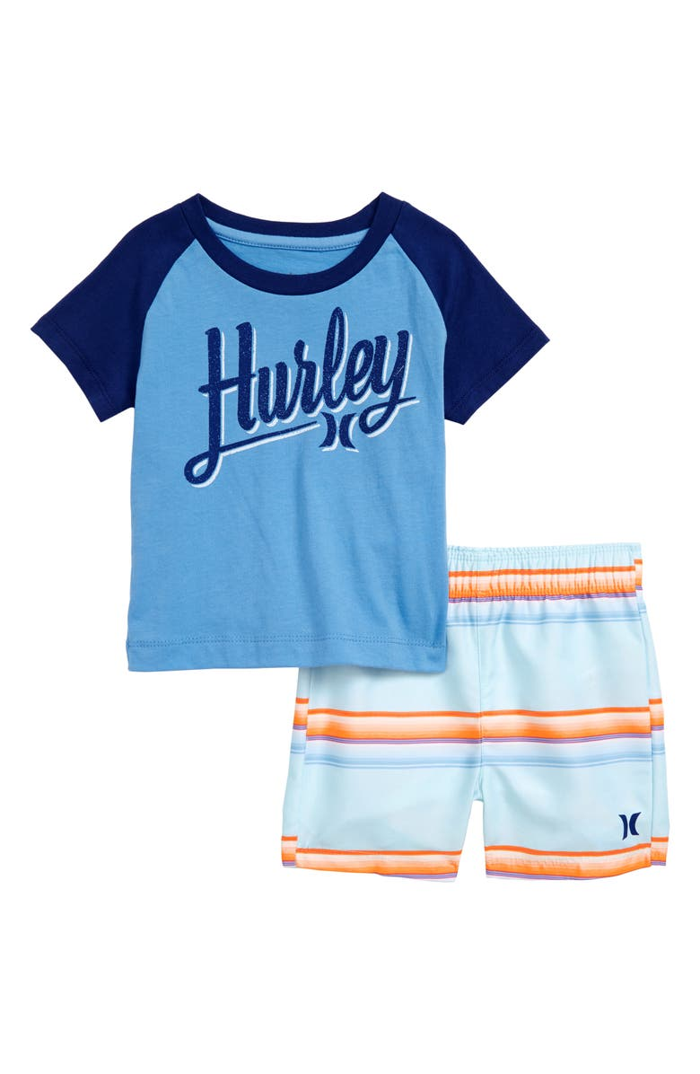 HURLEY Graphic Shirt & Shorts Set, Main, color, TOPAZ MIST