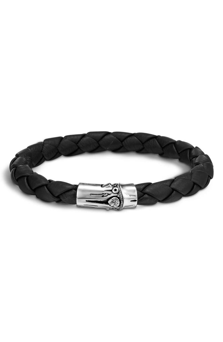 JOHN HARDY Men's Bamboo Braided Leather Bracelet, Main, color, SILVER/ BLACK