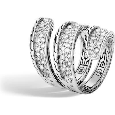 John Hardy Classic Chain Pave Diamond Wrap Ring