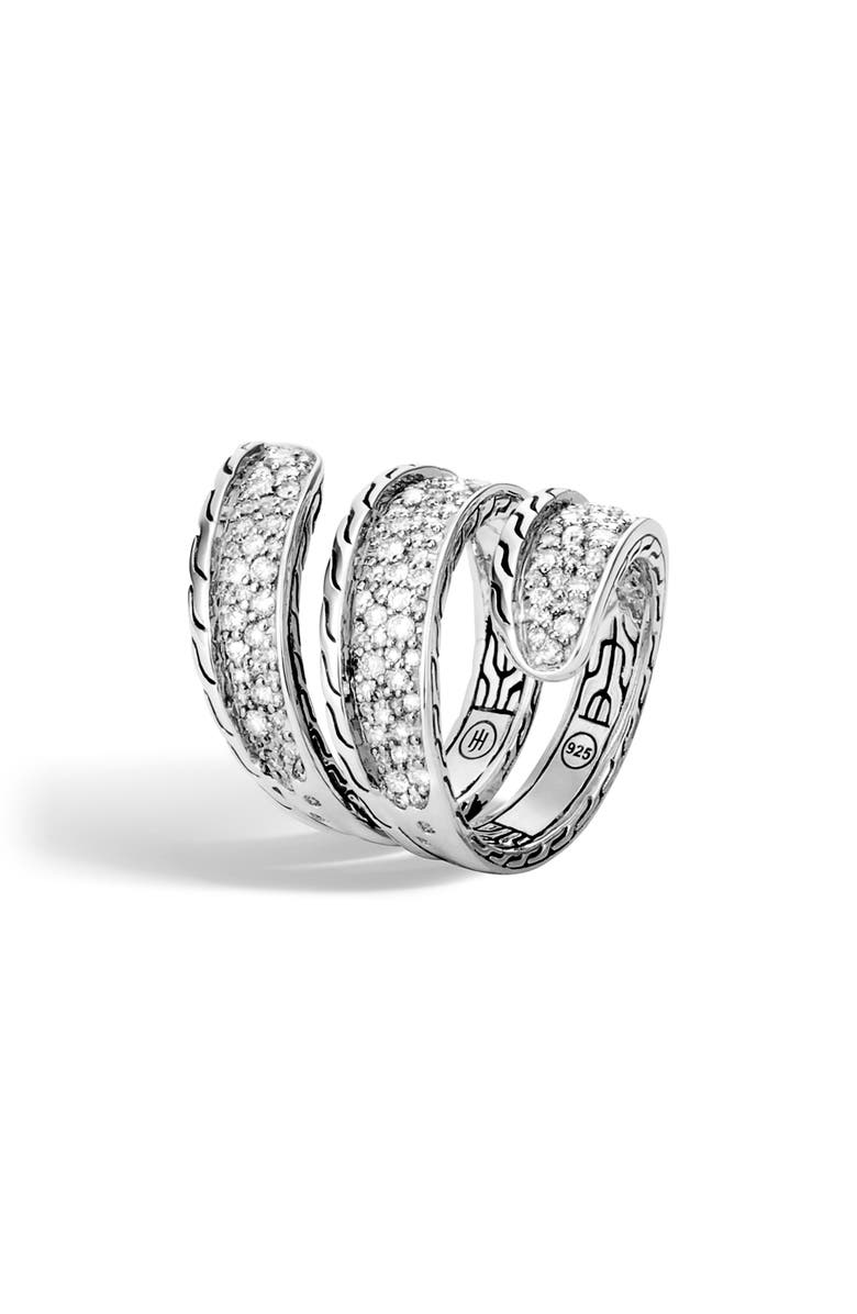 JOHN HARDY Classic Chain Pavé Diamond Wrap Ring, Main, color, 040