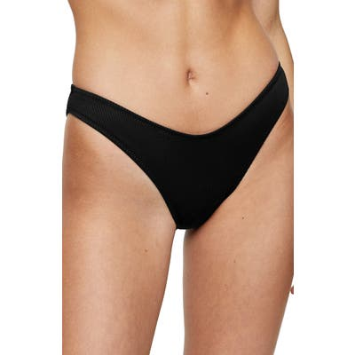 Topshop Ribbed High Leg Bikini Bottoms, US (fits like 0-2) - Black