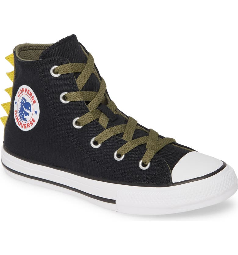 CONVERSE Chuck Taylor<sup>®</sup> All Star<sup>®</sup> Dinoverse High Top Sneaker, Main, color, BLACK/ FIELD SURPLUS/ WHITE