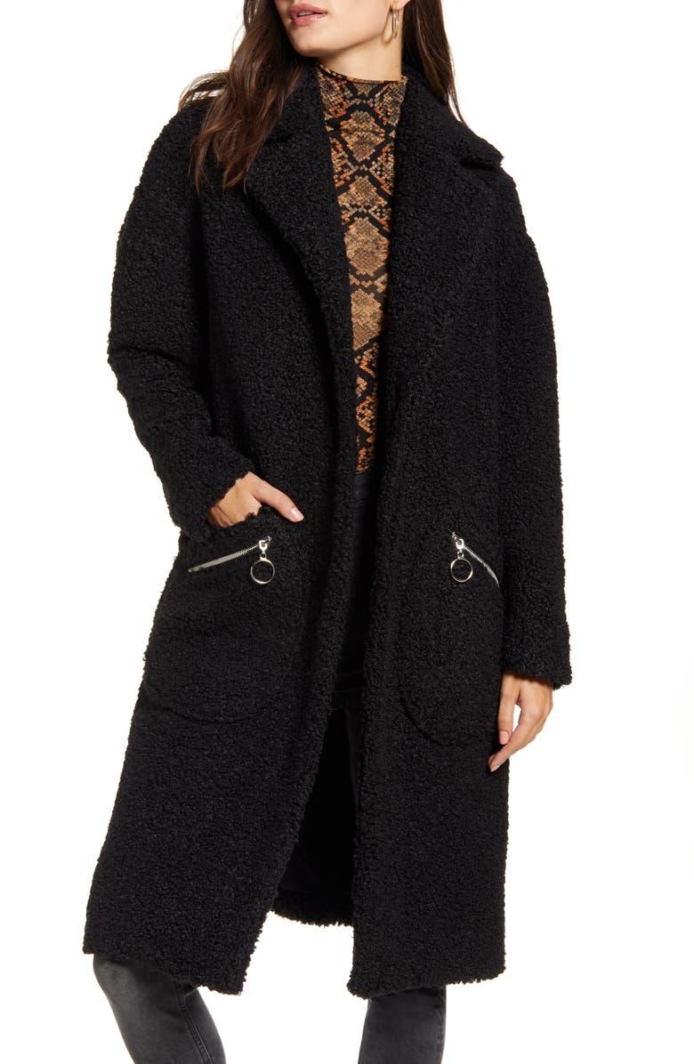 MURAL Cozy Teddy Bear Coat, Main, color, BLACK