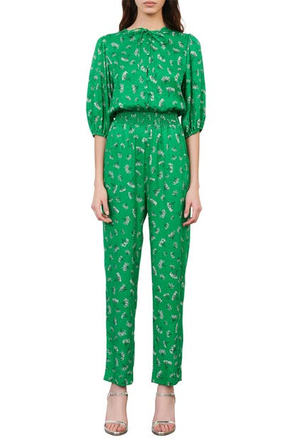 Maje FLORAL ELBOW-SLEEVE WOVEN JUMPSUIT