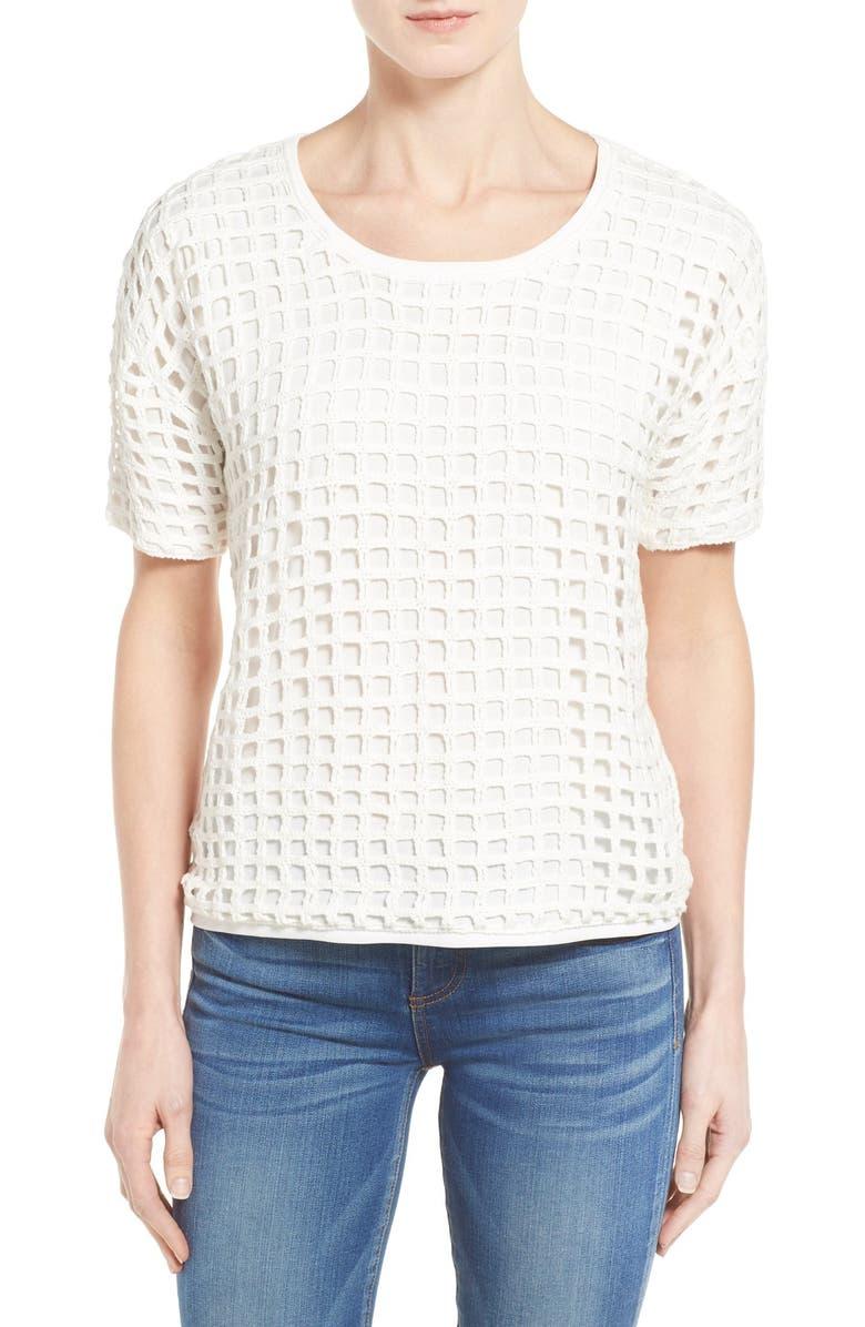 BOBEAU Short Sleeve Crochet Top, Main, color, 102