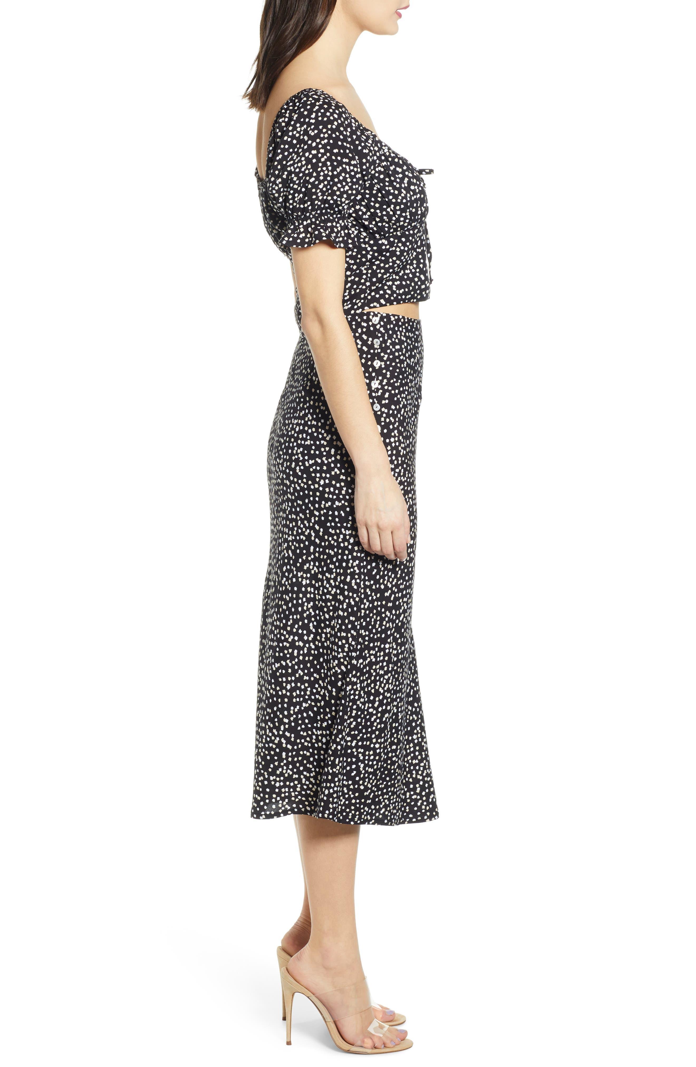 ,                             Button Side Midi Skirt,                             Alternate thumbnail 9, color,                             BLACK CINDY PRINT