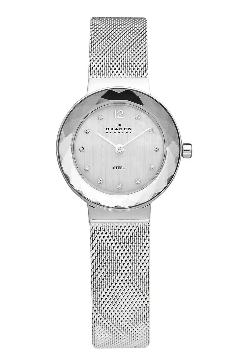 SKAGEN 'Leonora' Faceted Bezel & Mesh Strap Watch, 25mm, Main, color, 040