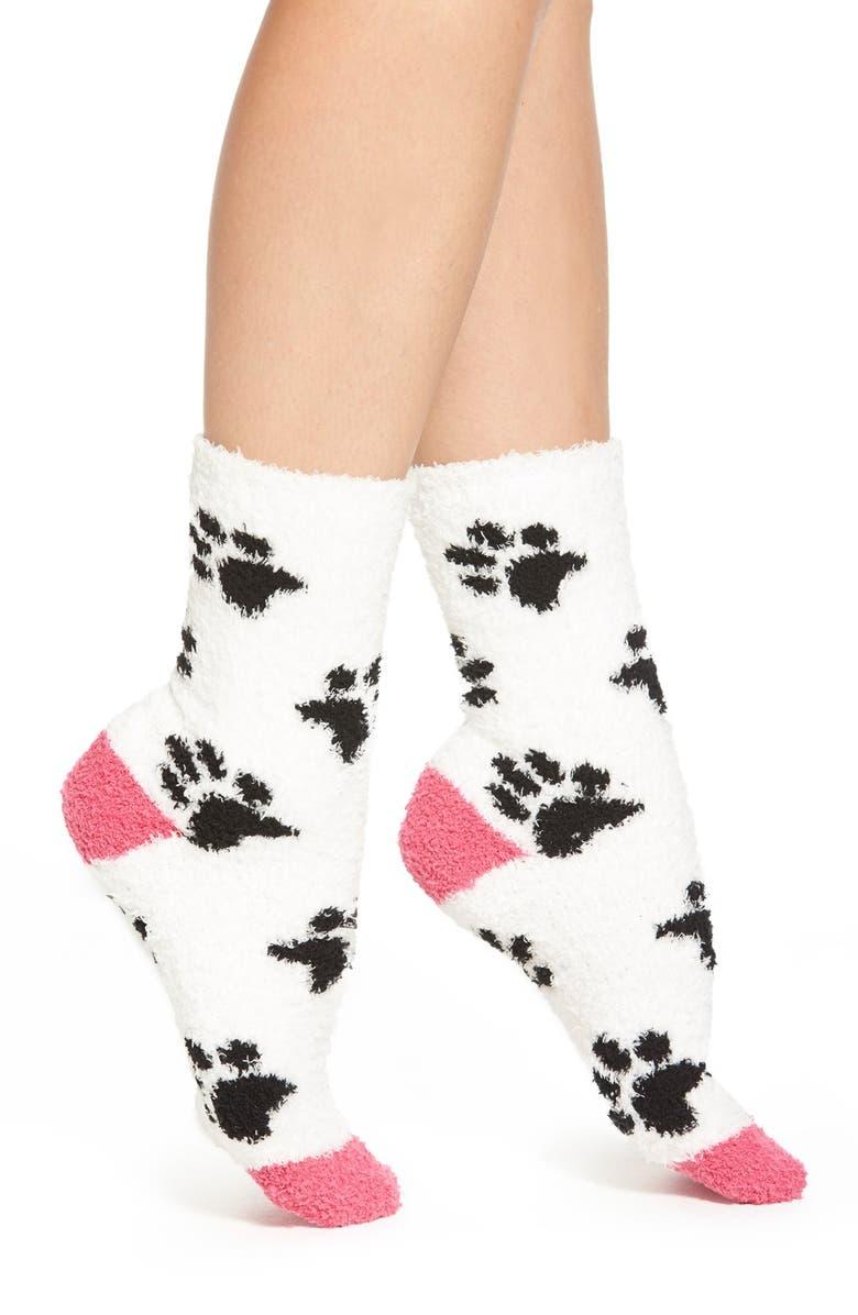 PJ SALVAGE 'Cozy Plush Paw Print' Crew Socks, Main, color, 900