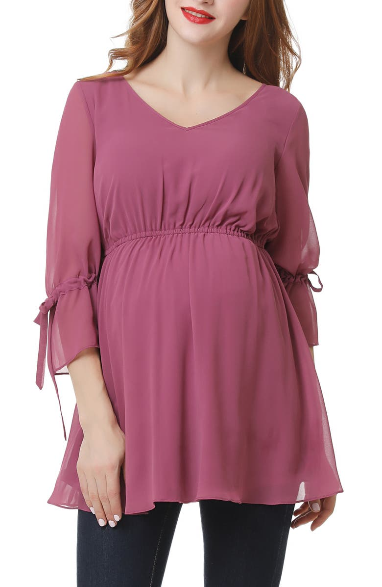 KIMI AND KAI Ellen Empire Maternity Top, Main, color, ROSE