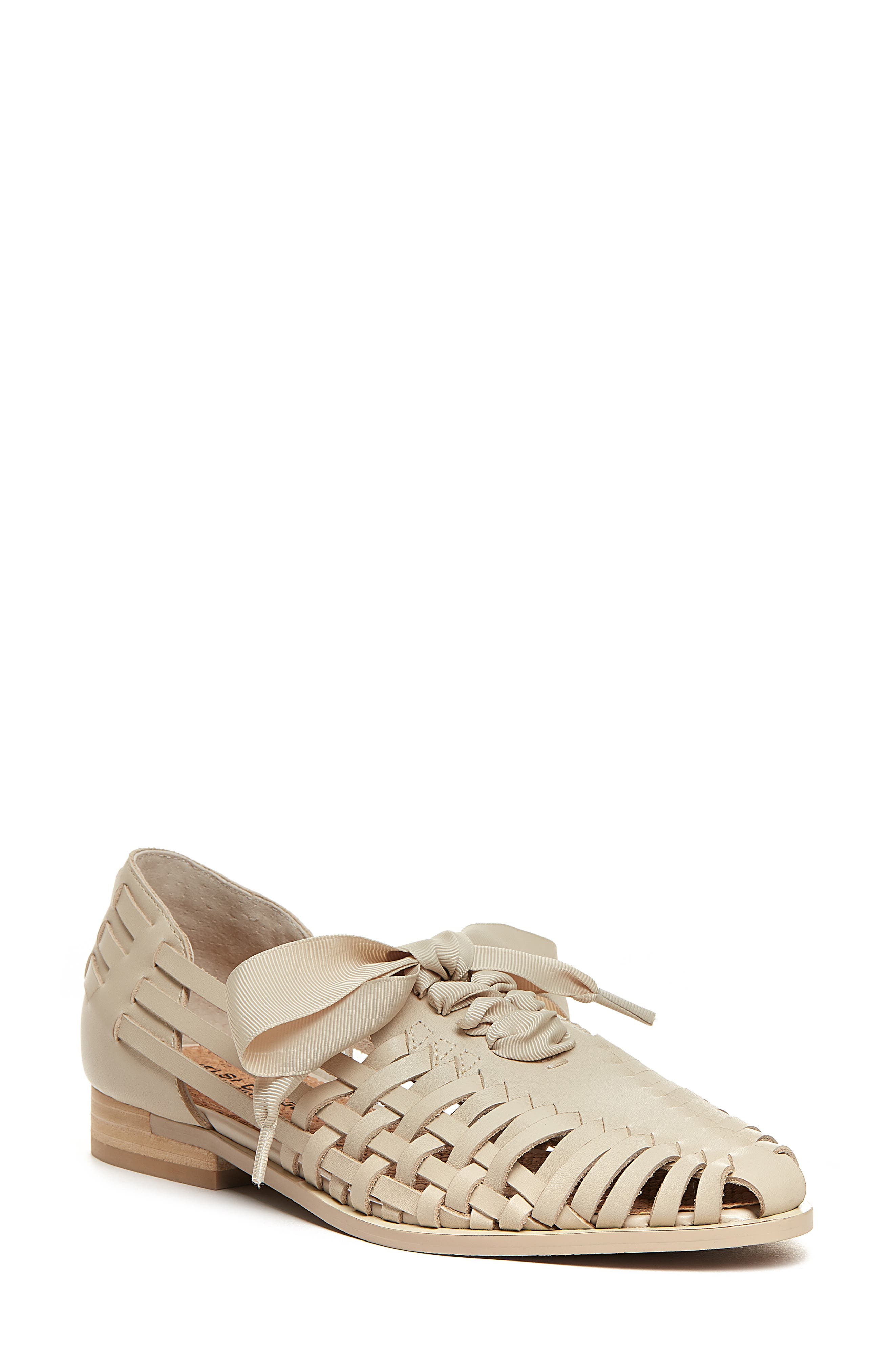 Lace-Up Braided Leather Flat