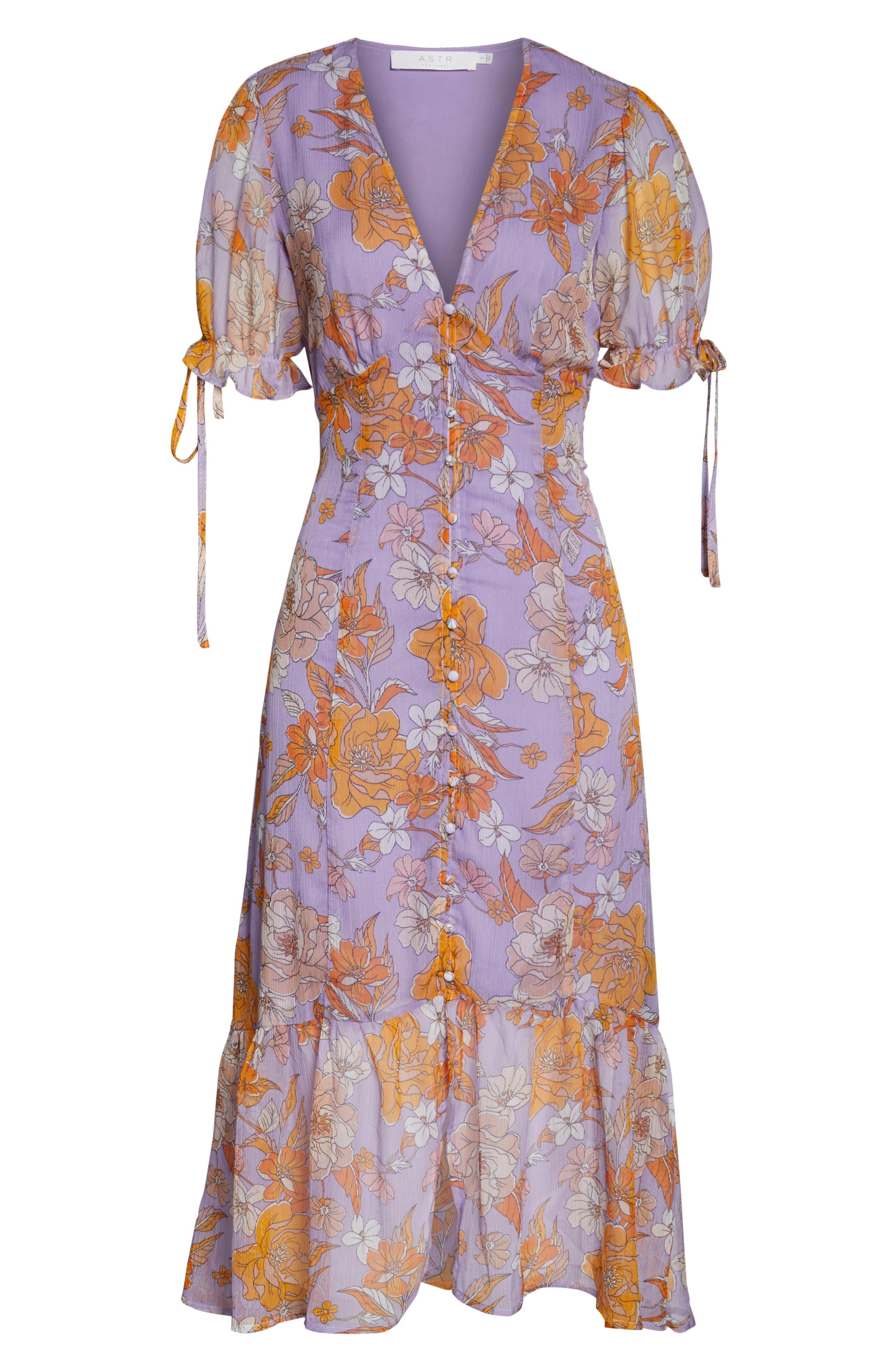 ,                             Chandler Floral Dress,                             Alternate thumbnail 5, color,                             ELECTRICAL LILAC FLORAL