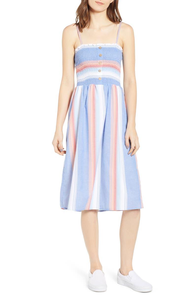 ANGIE Smocked Bodice Stripe Midi Dress, Main, color, 400