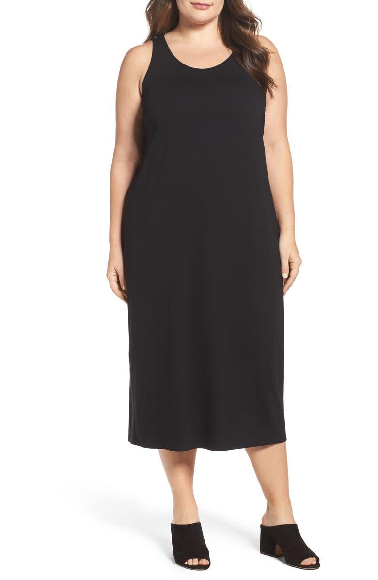 EILEEN FISHER Jersey Midi Dress, Main, color, BLACK