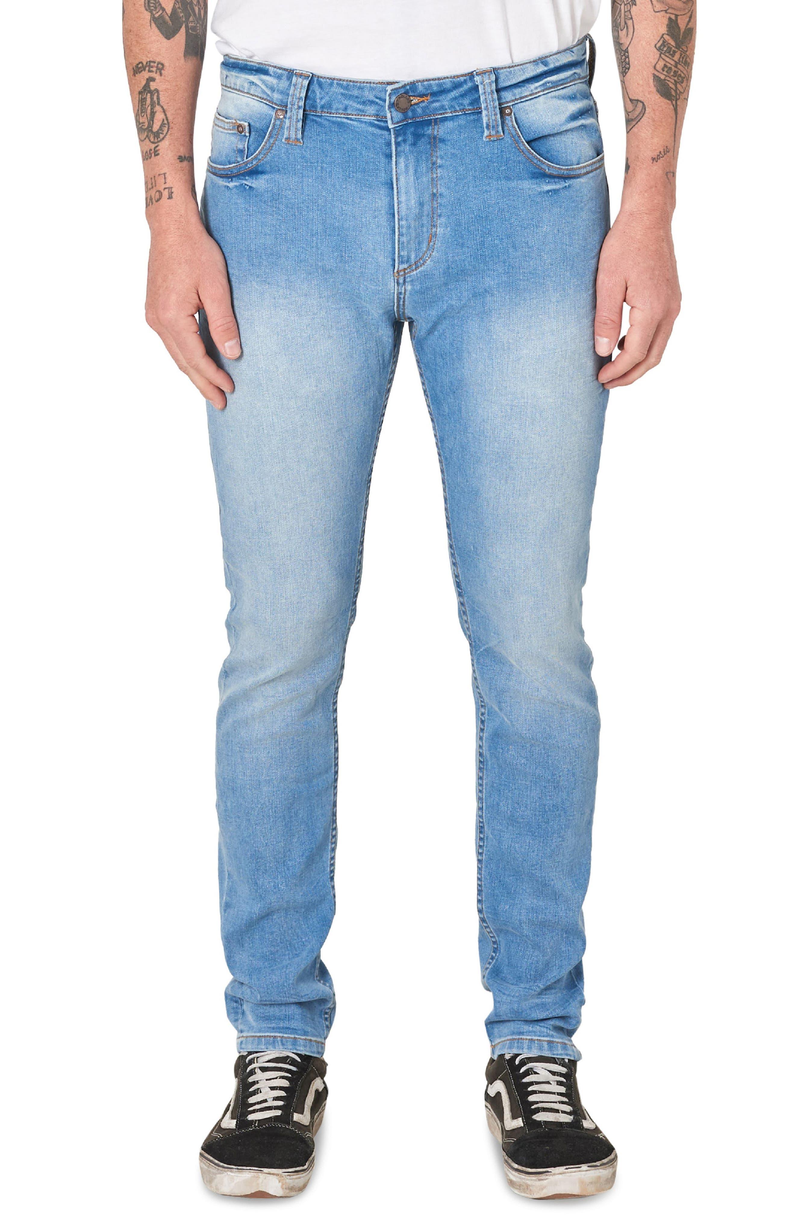,                             Stinger Skinny Fit Jeans,                             Main thumbnail 1, color,                             AUTHENTIC BLUE