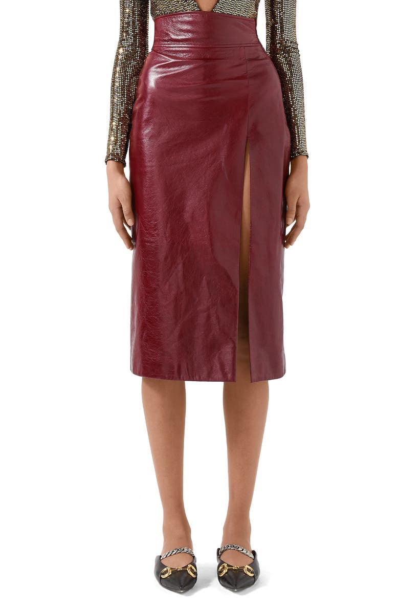 GUCCI Front Slit Lambskin Leather Pencil Skirt, Main, color, 930