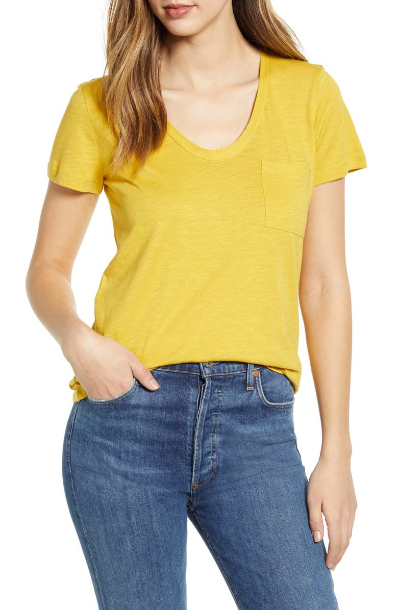 CASLON<SUP>®</SUP> Rounded V-Neck Tee, Main, color, YELLOW BAMBOO