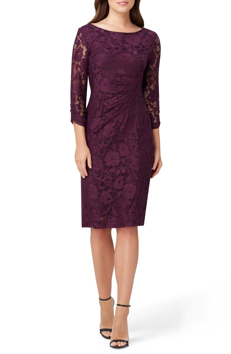 TAHARI Lace Sheath Dress, Main, color, PLUM FLORAL LACE