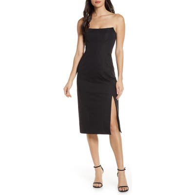 Finders Keepers Naomi Strapless Midi Dress, Black