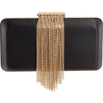 Givenchy Evening Chain Fringe Satin Minaudiere - Black