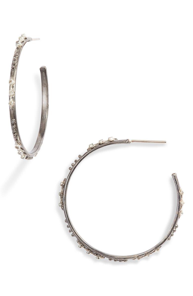ARMENTA New World Crivelli Diamond Hoop Earrings, Main, color, SILVER